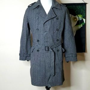Zara Man Double Breasted Belted Trench Coat